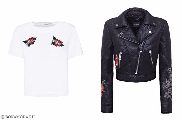 Коллекции Guess Tattoo Remix осень-2017 - белый топ и кожаная куртка