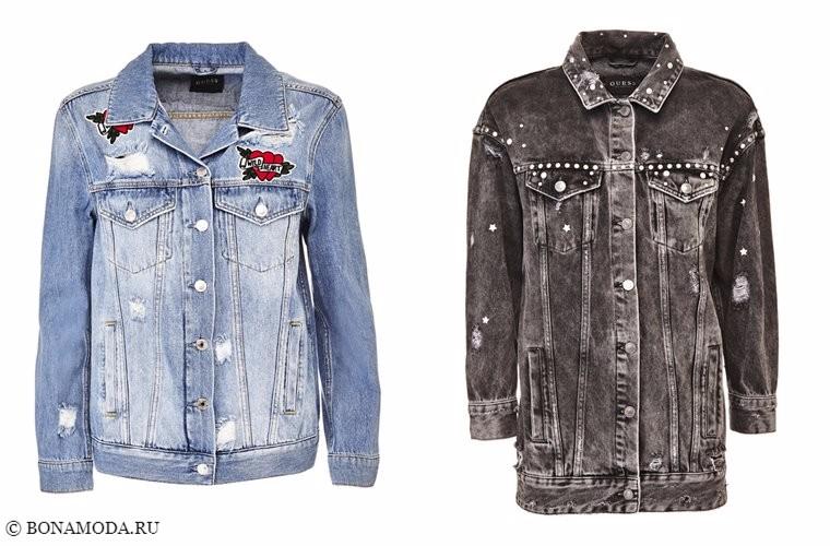 Коллекции Guess Tattoo Remix осень-2017 - голубая и серая потертая джинсовая куртка