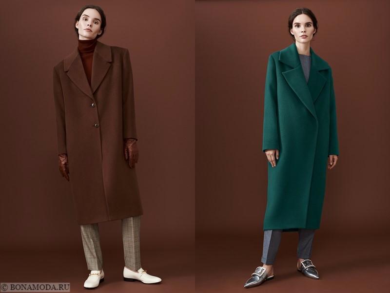 Лукбук коллекции osome2some осень-зима 2017-2018 - коричневое и зеленое пальто оверсайз