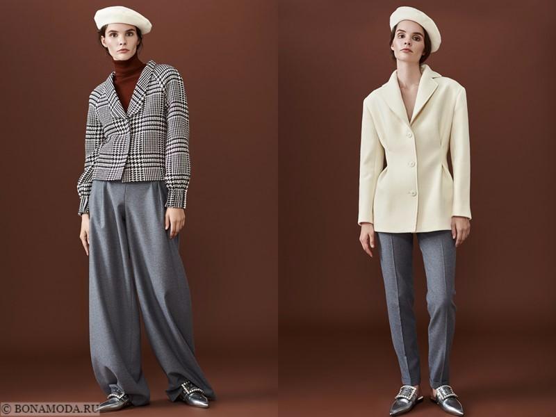 Лукбук коллекции osome2some осень-зима 2017-2018 - широкие и узкие серые брюки с приталенными жакетами