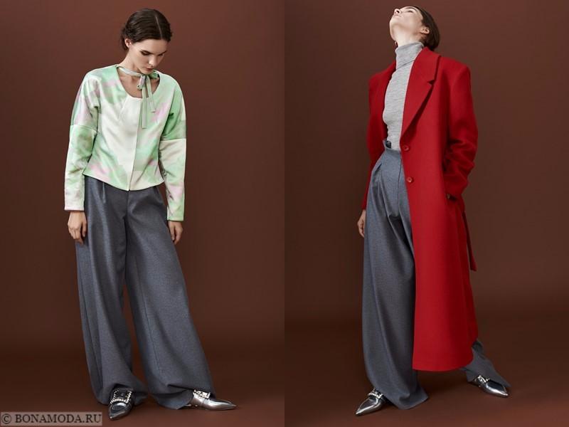 Лукбук коллекции osome2some осень-зима 2017-2018 - широкие серые брюки с шелковым жакетом и красным пальтои