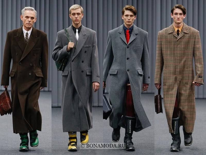 Мужские пальто осень-зима 2017-2018 - Balenciaga - серые длинные двубортные  и клетчатое 15c702cb0e7