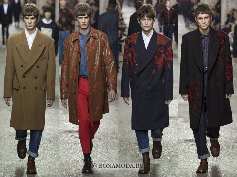 Мужские пальто осень-зима 2017-2018 - Dries Van Noten - хаки, бежевые и черные двубортные с цветочными принтами