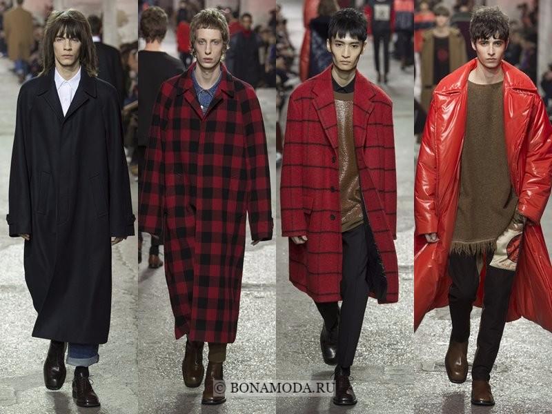 Мужские пальто осень-зима 2017-2018 - Dries Van Noten - черные и красные в клетку