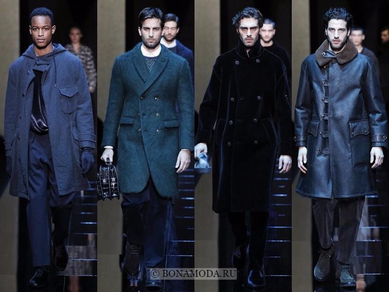 Мужские пальто осень-зима 2017-2018 - Giorgio Armani - тёмно-синие