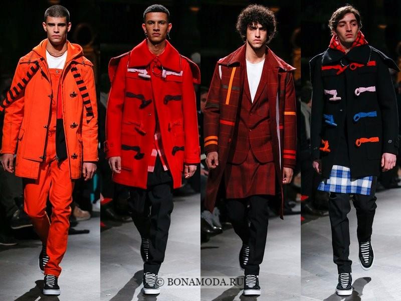 Мужские пальто осень-зима 2017-2018 - Givenchy - яркие красные и оранжевые даффлкоты
