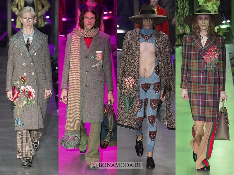 Мужские пальто осень-зима 2017-2018 - Gucci - серые с цветами и клетчатые