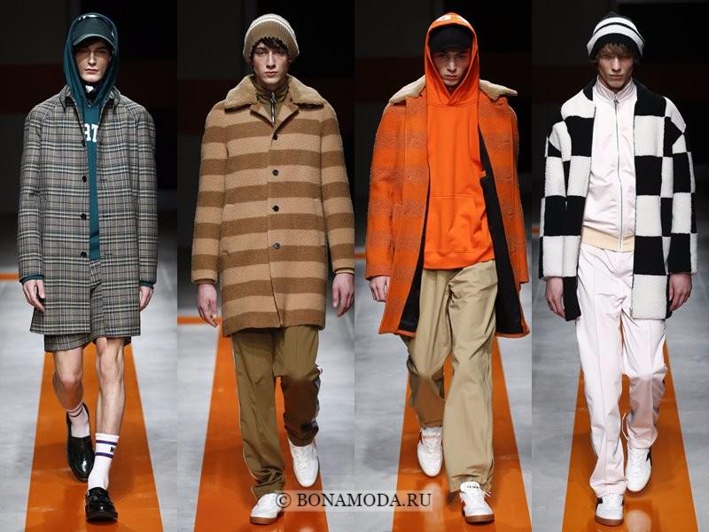 Мужские пальто осень-зима 2017-2018 - MSGM - клетчатые, бежевое, серое, оранжевое и черно-белое