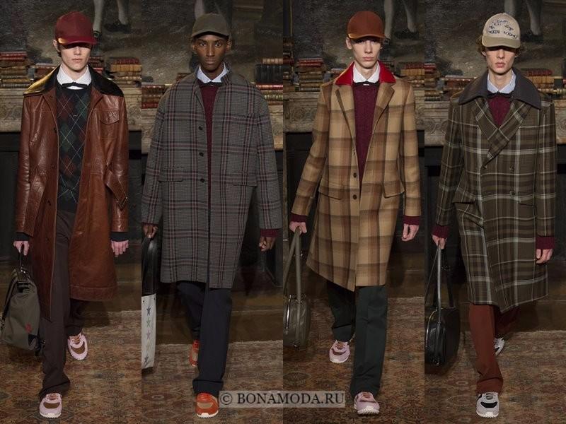 Мужские пальто осень-зима 2017-2018 - Valentino - кожаное коричневое и клетчатые классические