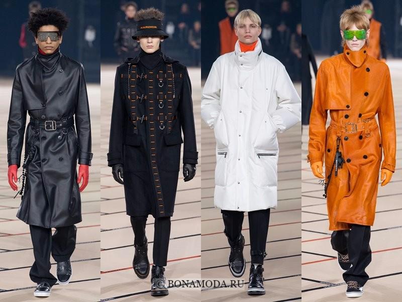 Мужские пальто осень-зима 2017-2018 - Dior Homme - черное, белое и оранжевое