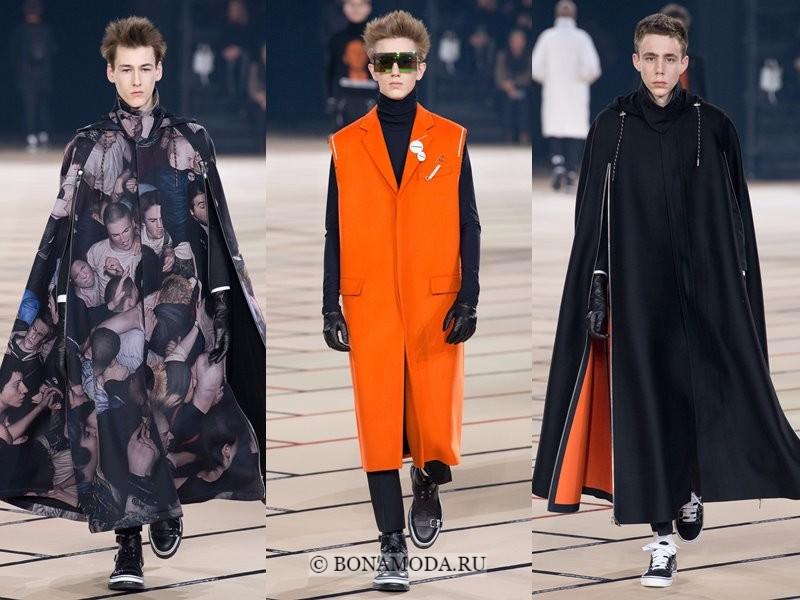 Мужские пальто осень-зима 2017-2018 - Dior Homme - кейпы и оранжевое без рукавов из винила