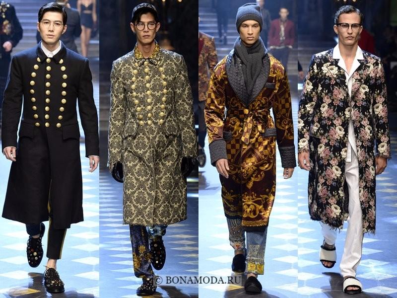 Мужские пальто осень-зима 2017-2018 - Dolce&Gabbana - офицерские и с принтом