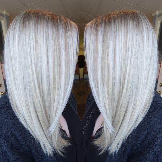 Белые платиновые волосы: окрашивание балаяж на среднюю длины