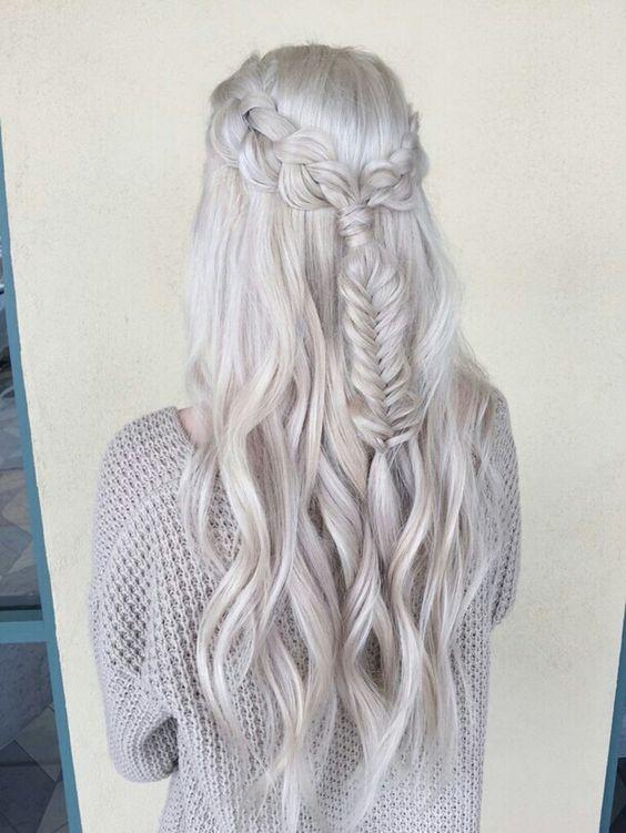 Белые платиновые волосы: длинные с французской косой в стиле Дайенерис