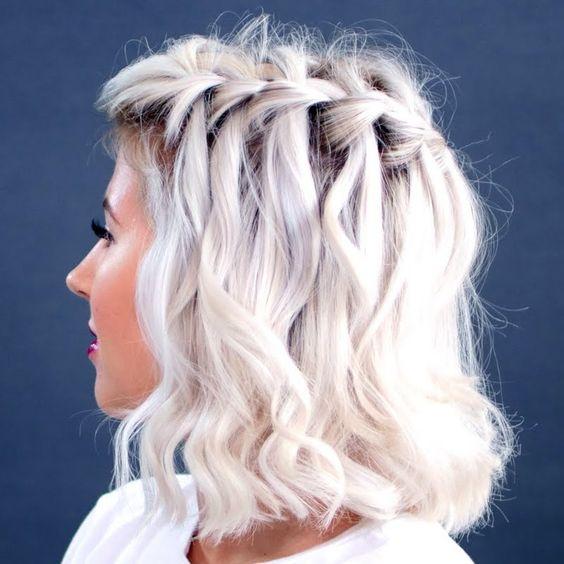 """Белые платиновые волосы: боб-каре с укладкой в стиле """"водопад"""""""