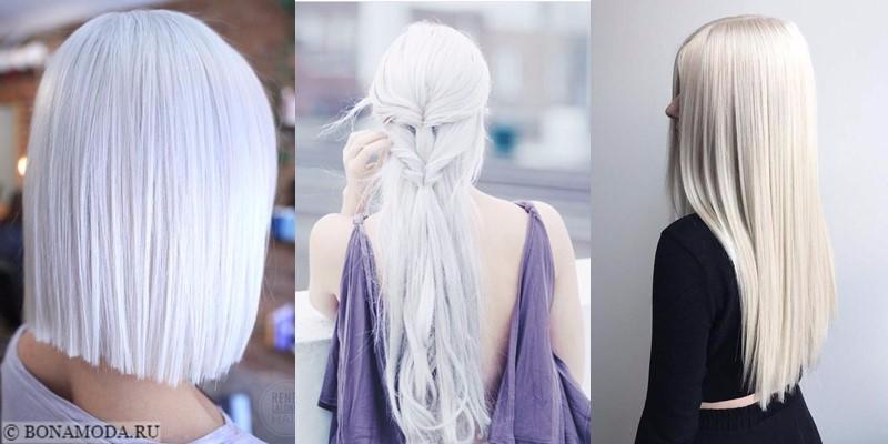 Белые платиновые волосы: фотографии причёсок