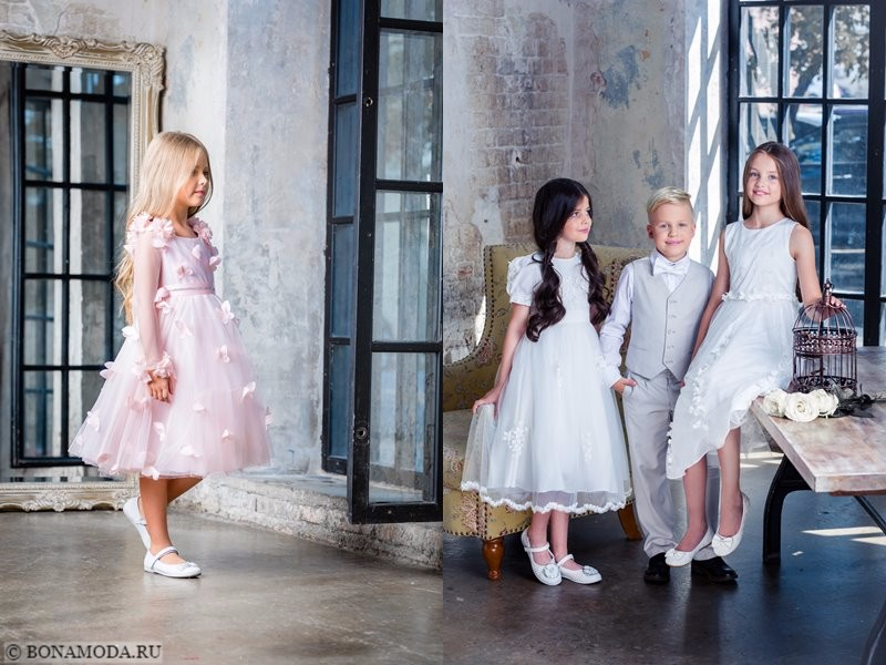 Детская коллекция Choupette осень-зима 2017-2018 - праздничные розовые и белые платья