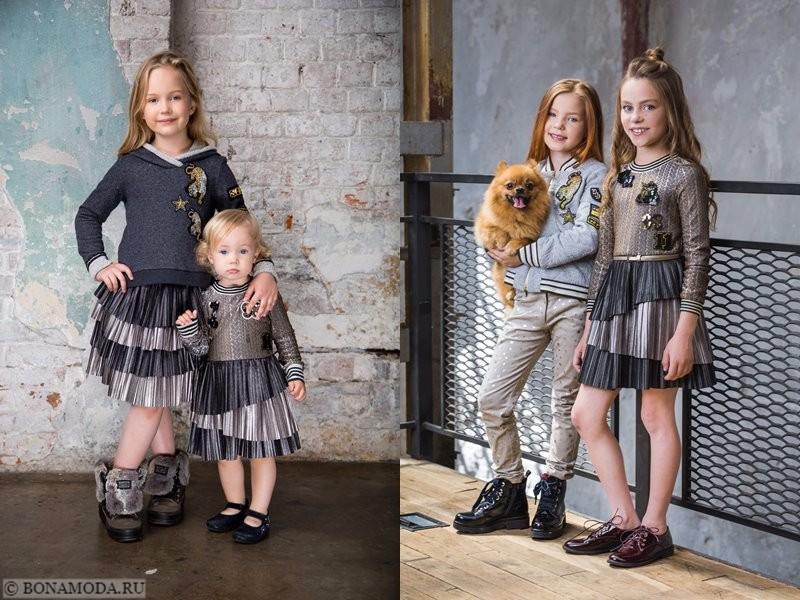 Детская коллекция Choupette осень-зима 2017-2018 - серые комплекты с плиссированными юбками