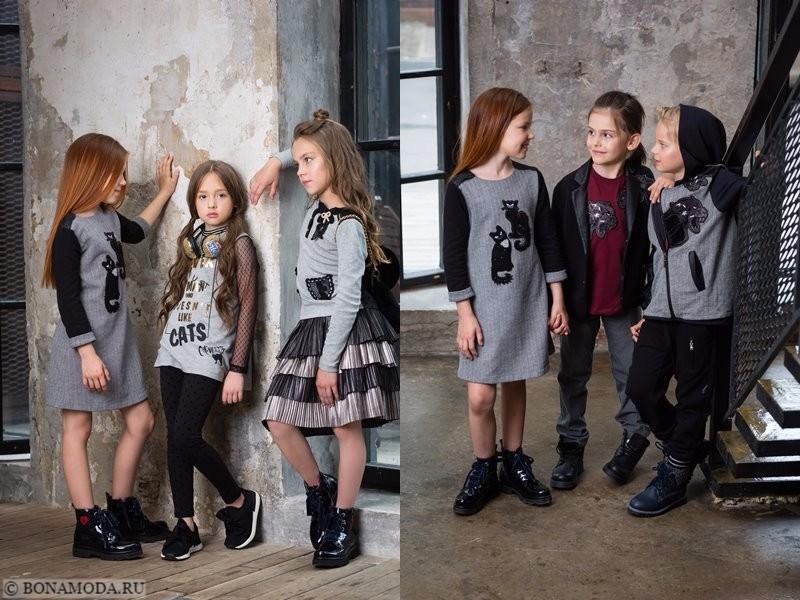 Детская коллекция Choupette осень-зима 2017-2018 - платья, юбки и топы серого цвета с аппликациями-кошками