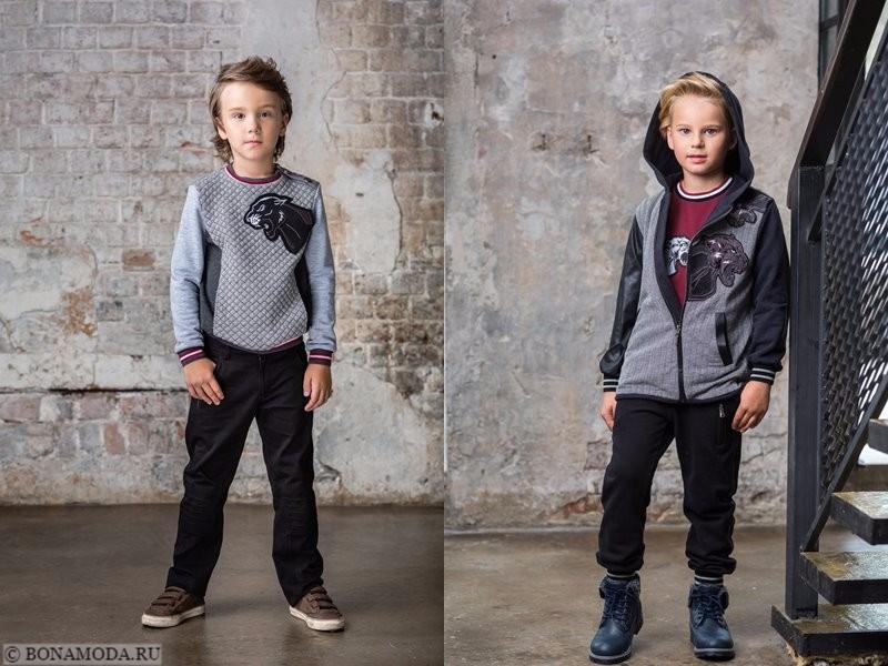 Детская коллекция Choupette осень-зима 2017-2018 - черные брюки и серые свитшоты  для мальчиков