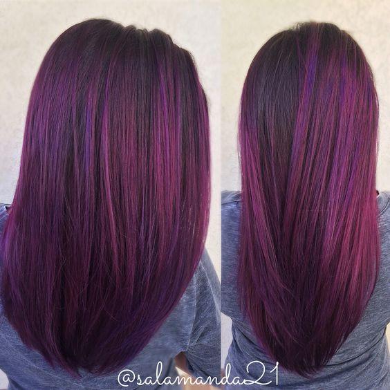 Фиолетовые волосы - длинные гладкие баклажановые