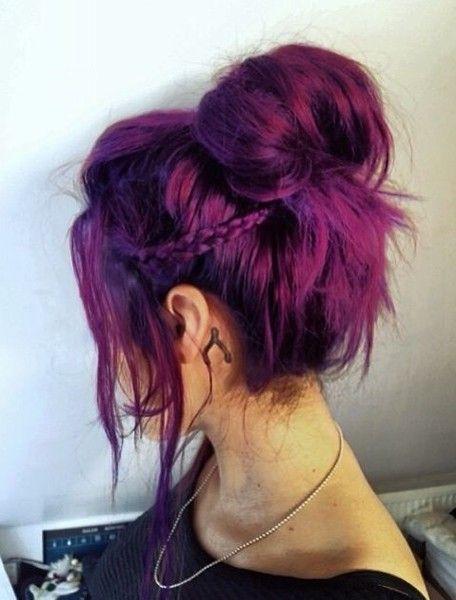 Фиолетовые волосы - яркий пурпурный для высокого пучка