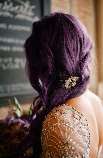 Фиолетовые волосы - свадебная укладка для сливового оттенка
