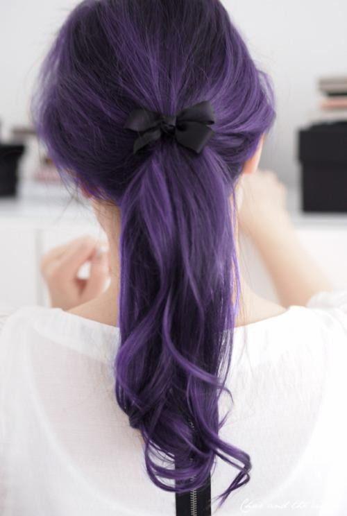 Фиолетовые волосы - длинный хвост в тёмно-лавандовом оттенке