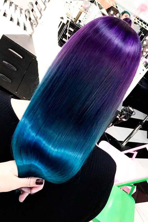 Фиолетовые волосы - омбре с переходом к бирюзовому