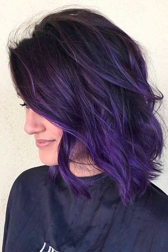 shoulder length purple ombre  Google Search  Hairrr