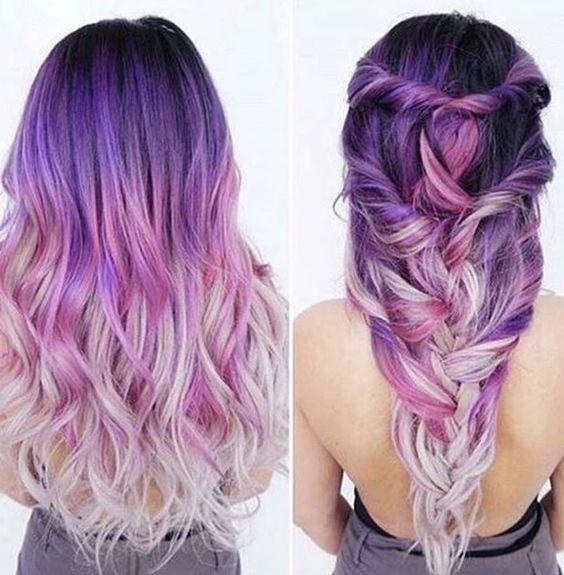 Фиолетовые волосы - длинное омбре с пляжными локонами
