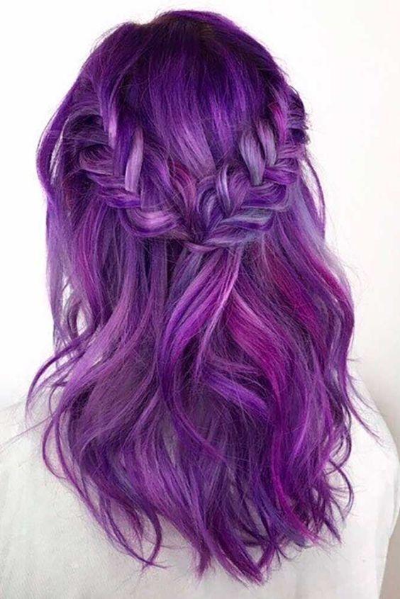 Фиолетовые волосы - две косы на средней длине