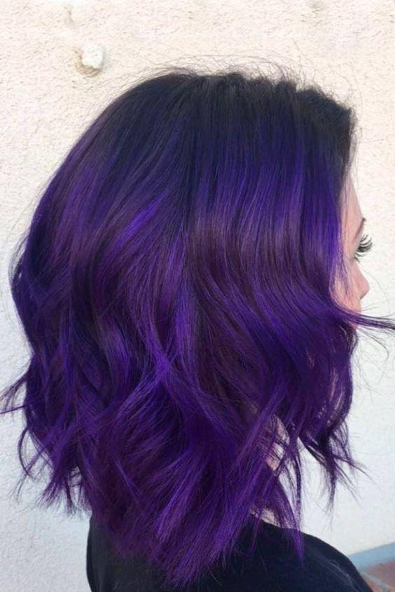 Фиолетовые волосы - оттенок индиго для каре шэг