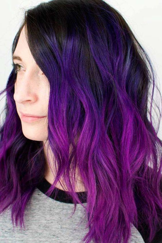Фиолетовые волосы - омбре с локонами в сливовом и тёмно-лиловом