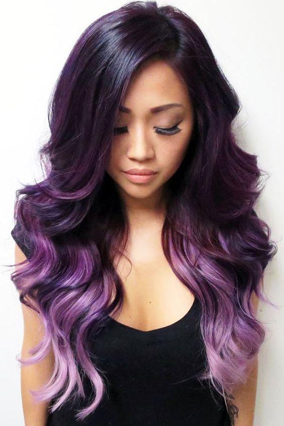 Фиолетовые волосы - длинные баклажановые локоны