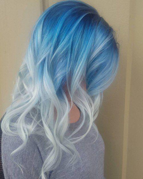 Голубые волосы - средняя длина омбре