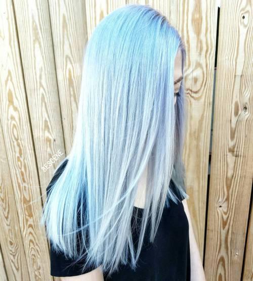 Голубые волосы - длинные платиновые волосы