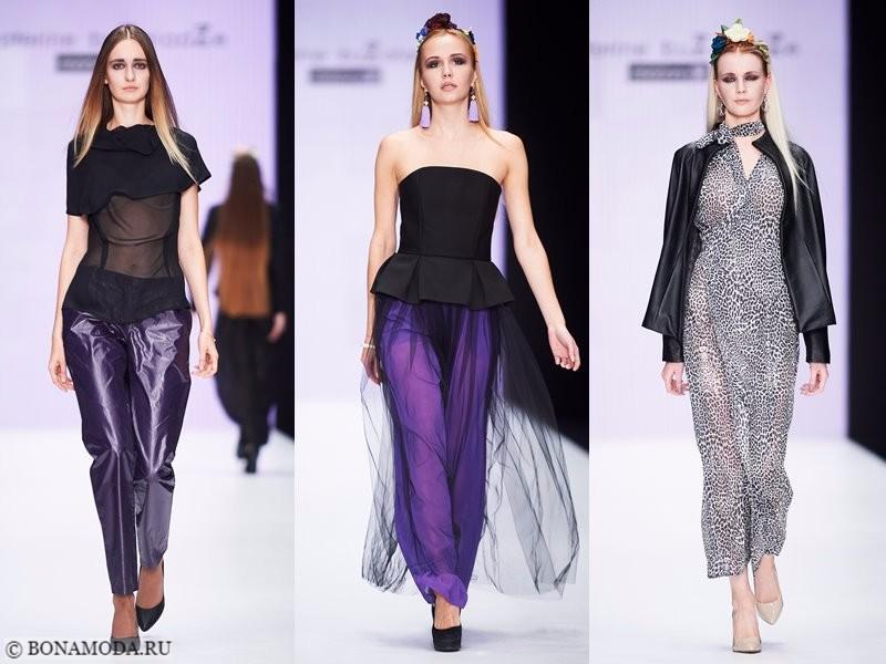 Коллекция Ekaterine Buzaladze весна-лето 2018 - чёрный, фиолетовый и леопардовый принт