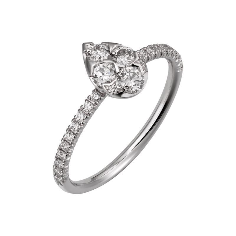 Коллекция Etincelle de Cartier 2017 - грушевидное кольцо из белого золота с бриллиантами