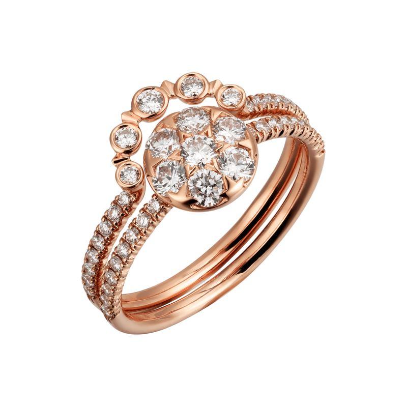 Коллекция Etincelle de Cartier 2017 - двойное кольцо из желтого золота с бриллиантами
