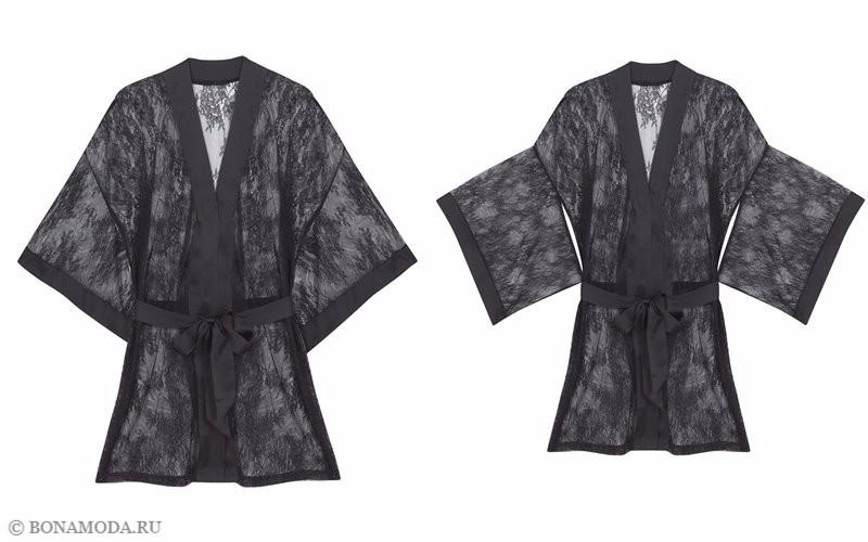 Капсульная коллекция Women'secret осень-зима 2017 - чёрный кружевной халат
