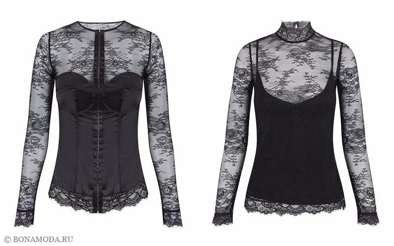 Капсульная коллекция Women'secret осень-зима 2017 - чёрные кружевные блузы с длинными рукавами