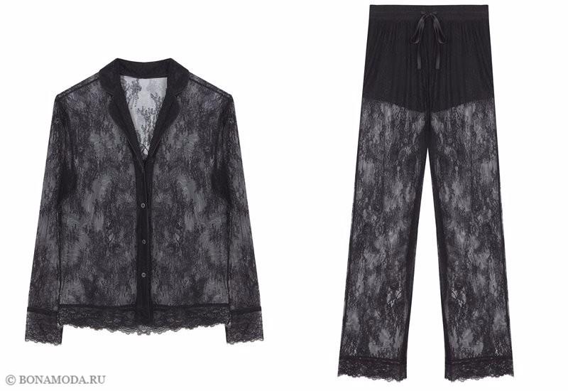 Капсульная коллекция Women'secret осень-зима 2017 - чёрная кружевная пижама