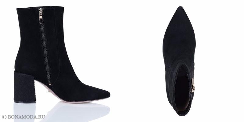 Коллекция обуви Respect осень-зима 2017-2018 - черные замшевые ботильоны с острым мыском на молнии