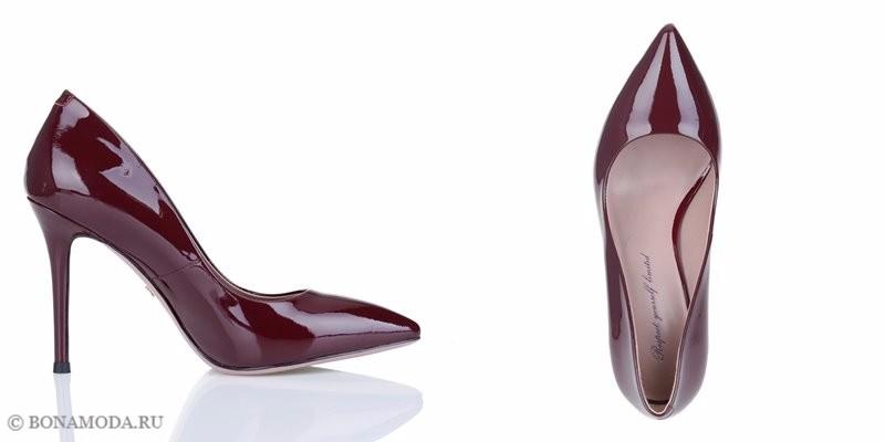 Коллекция обуви Respect осень-зима 2017-2018 - бордовые туфли-лодочки на шпильке с острым мыском