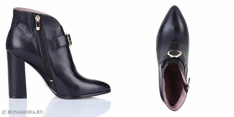 Коллекция обуви Respect осень-зима 2017-2018 - чёрные ботильоны с острым мыском из натуральной кожи