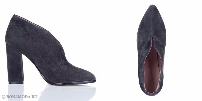 Коллекция обуви Respect осень-зима 2017-2018 - черные замшевые ботильоны с острым мыском