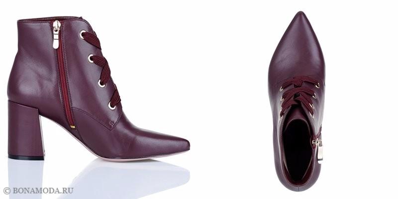 Коллекция обуви Respect осень-зима 2017-2018 - кожаные бордовые ботильоны на шнуровке