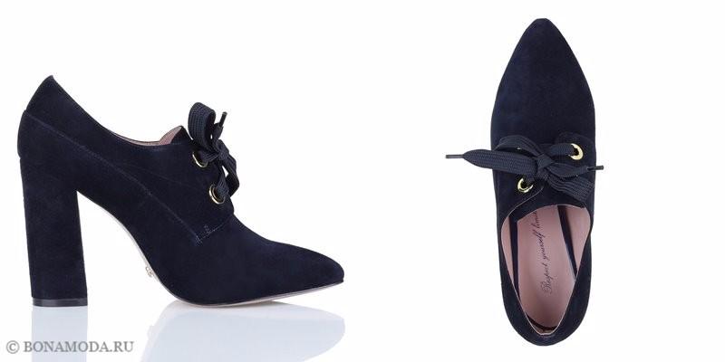 Коллекция обуви Respect осень-зима 2017-2018 - чёрные замшевые ботильоны на шнуровке