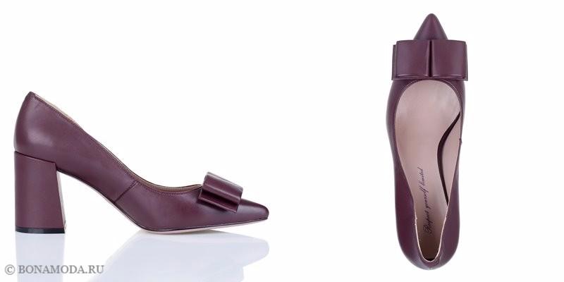 Коллекция обуви Respect осень-зима 2017-2018 - светло-бордовые туфли с острым мыском и бантом